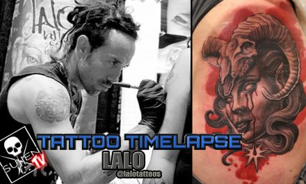 Tattoo Time Lapse – Lalo – Tattoos Black and Grey Woman with Ram Skull