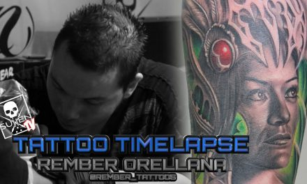 Tattoo Time Lapse – Rember Orellana – Tattoos Black and Grey Huntress with Color Fusion