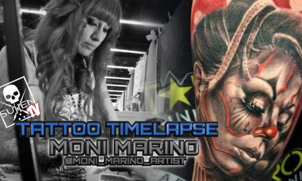 Tattoo Time Lapse – Moni Marino – Tattoos Black and Grey Infused with Color Female Clown
