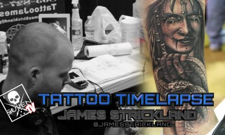 Tattoo Time Lapse – James Strickland – Tattoos Black and Grey Huntress Holding Snake
