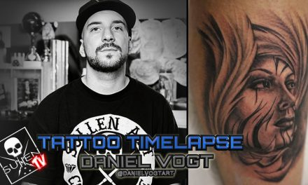 Tattoo Time Lapse – Daniel Vogt – Tattoos Black and Grey Woman with Feathers Around Face