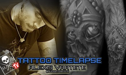 Tattoo Time Lapse – Alexis Vaatete – Tattoos Amazing Black and Grey Skull with Paint Influences