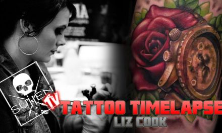 Tattoo Time Lapse – Liz Cook – Tattoos Color Rose and Timepiece