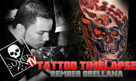 Tattoo Time Lapse – Rember Orellana – Tattoos Black and Grey Skull with Color Fusion
