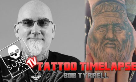 Tattoo Time Lapse – Bob Tyrrell – Tattoos Greek Statue of Plato on Hand