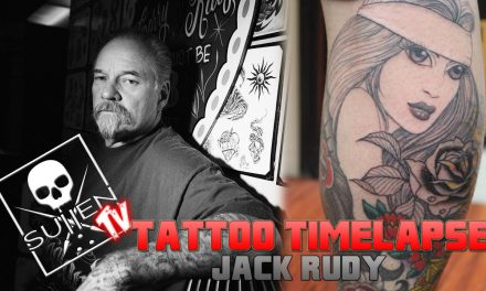 Tattoo Time Lapse – Jack Rudy – Tattoos Single Needle Black and Grey Lowrider Woman