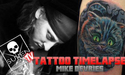 Tattoo Time Lapse – Mike DeVries – Tattoos Cheshire Cat from Alice and Wonderland