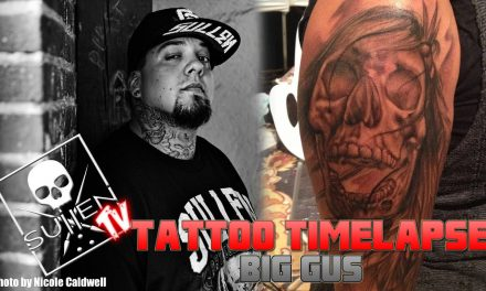 Tattoo Time Lapse – Big Gus – Tattoos Black and Grey Skull